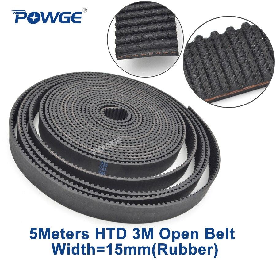 POWGE Arc HTD 3M open timing belt 3M-15mm width 15mm length 5000mm Rubber Fiberglass HTD3M open Timing belt  pulley CNC 5Meters